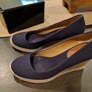 J Crew Navy wedge espadrilles New in box Size 9